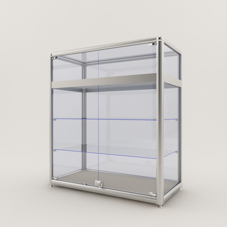 Профиль-ригель с полкой для витрин из стекла